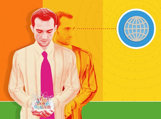 Stock Photo: 1598R-23309 Businessman holding jumbled binary code, replica looking at globe