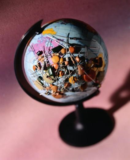Globe with Resistors : Stock Photo