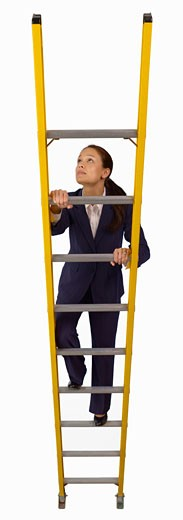 Stock Photo: 1598R-234667 Businesswoman climbing ladder, close-up