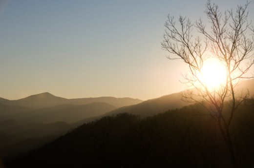 Mountainous landscape, sunset, Tennessee, USA : Stock Photo