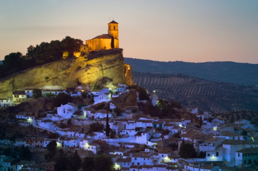Spain, Andalusia, town of Montefrio, dusk : Stock Photo