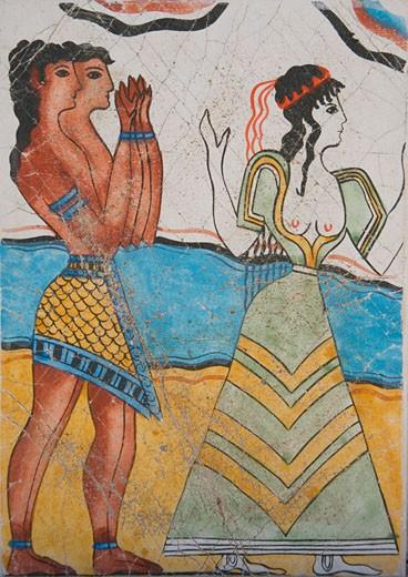 Greece, Crete, Knossos, Fresco at Palace of Knossos, Cup Bearers and Priestess : Stock Photo
