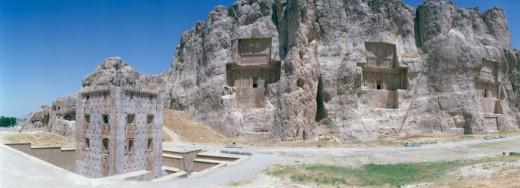 Stock Photo: 1598R-242286 Iran, Persepolis, tombs in rock