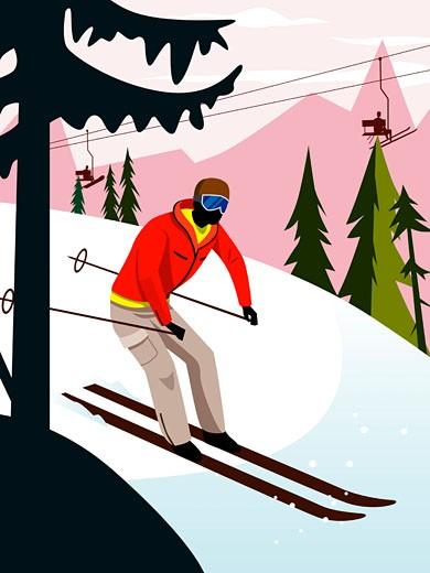 Man downhill skiing : Stock Photo
