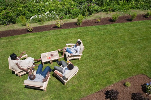 High angle view of two young couples sitting in a lawn : Stock Photo
