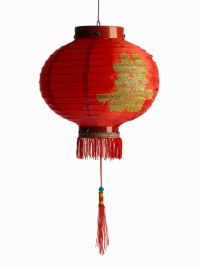 Red chinese lantern on white background : Stock Photo