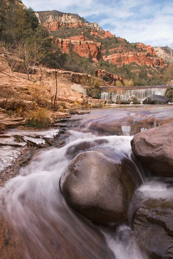 USA, Arizona, Sedona, waterfalls in Oak Creek Canyon, blurred motion : Stock Photo