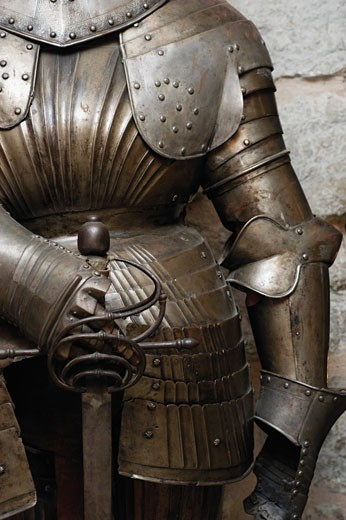 Mid section view of suit of armor, Cannon Tower, KIEK IN DE KOK, Tallinn, Estonia : Stock Photo