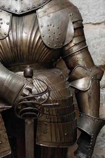 Stock Photo: 1598R-245102 Mid section view of suit of armor, Cannon Tower, KIEK IN DE KOK, Tallinn, Estonia