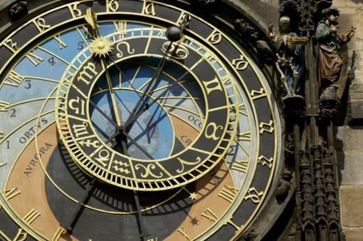 Stock Photo: 1598R-24670 Czech Republic, Prague, Astronomical Clock, close-up