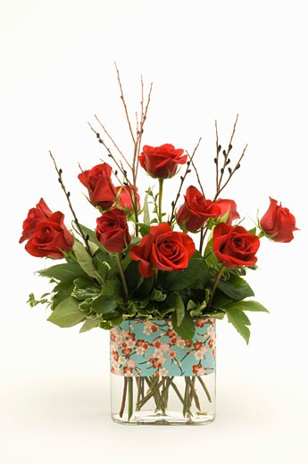 Red roses in vase : Stock Photo