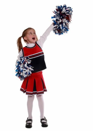 A 5 year old little cheerleader : Stock Photo