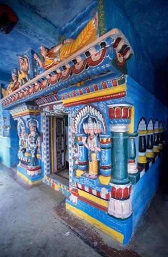India, Ladakh, Colorful entranceway to Buddhist altar : Stock Photo