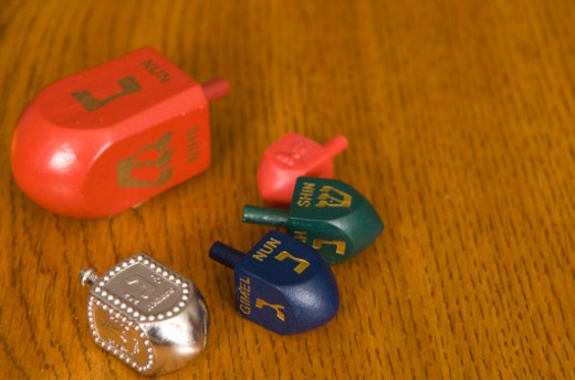 Stock Photo: 1598R-248950 Dreidels on table, close-up