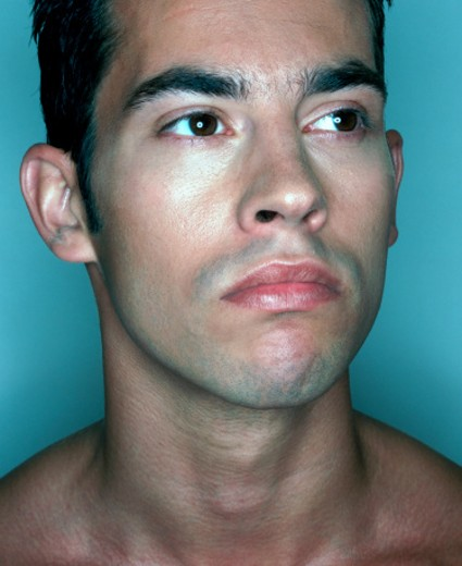 Man with Bare Shoulders : Stock Photo
