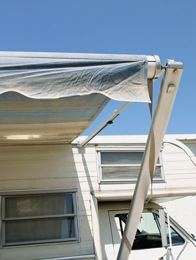 Awning on Trailer Home : Stock Photo