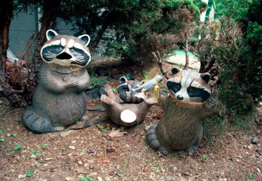 Ceramic Raccoons in Garden : Stock Photo