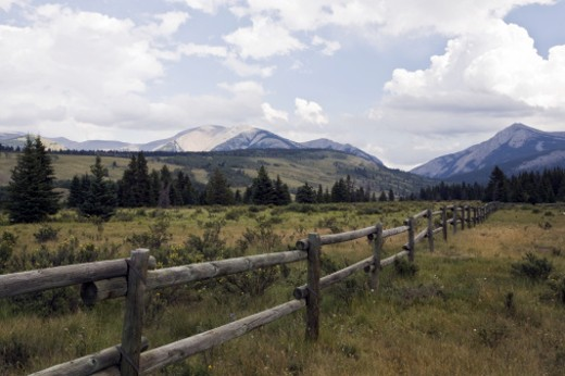 Ranch land in the Alberta foothills. : Stock Photo