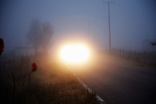 Car headlights on rural road in fog at dusk : Stock Photo