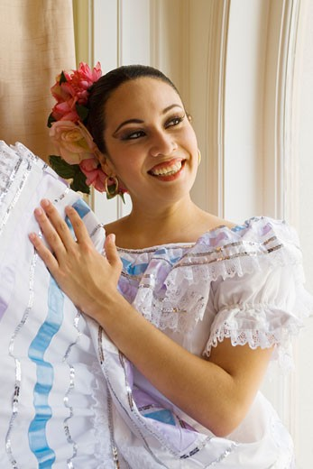 Nicaraguan dancer in traditional folk costume : Stock Photo