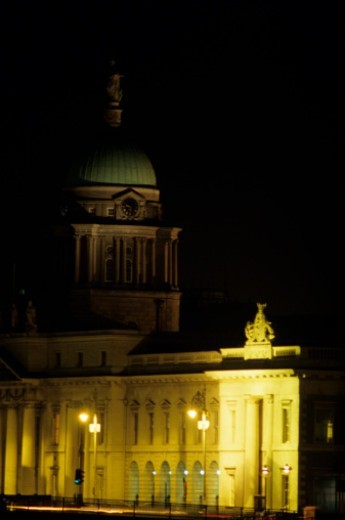 Stock Photo: 1598R-260299 Customs House illuminated at night
