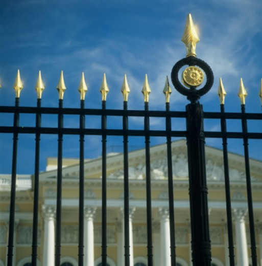 Neo-classical Iron Fence at museum, low angle view : Stock Photo