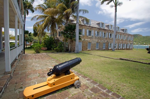 May 2004, This viewpoint in Nelson's Dockyard National Park was taken at English Harbour and features the Naval Officer's House, which is now a museum. : Stock Photo