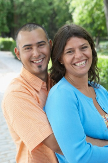 Portrait of a mid adult couple smiling : Stock Photo
