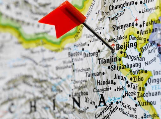 Stock Photo: 1598R-266106 Map pin placed in Beijing, China on map, close-up
