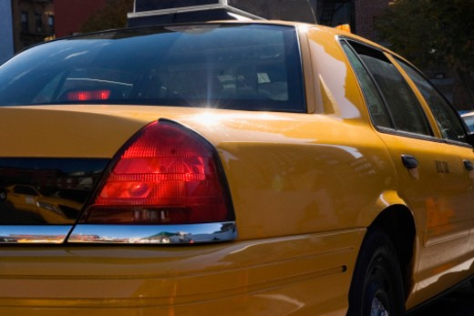Yellow taxicab, close-up : Stock Photo