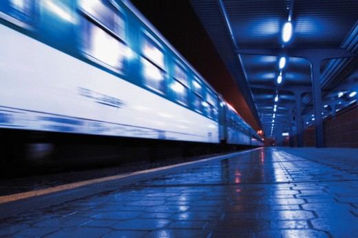 Blurred image of moving subway car and platform : Stock Photo
