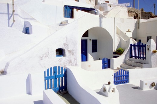 High angle view of blue gates and doors of a house, Santorini, Greece : Stock Photo