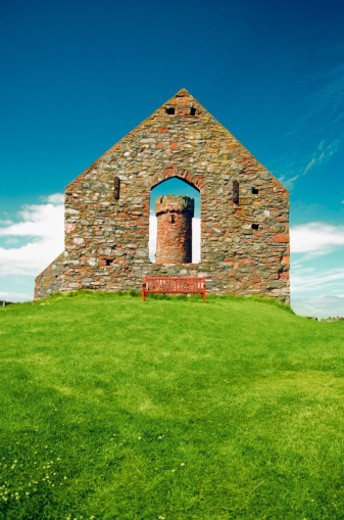 Low angle view of the Peel Castle, Isle of Man, British Isles : Stock Photo