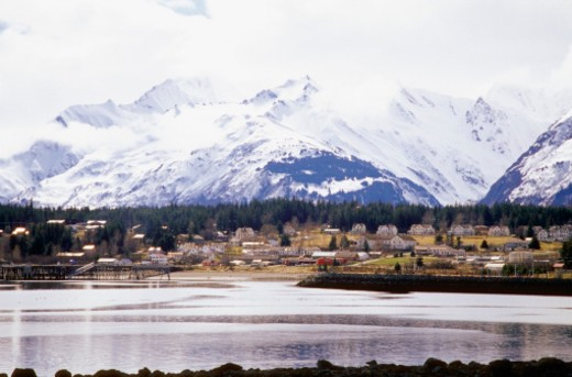 Panoramic view of snowcapped mountains, Haines, Alaska, USA : Stock Photo