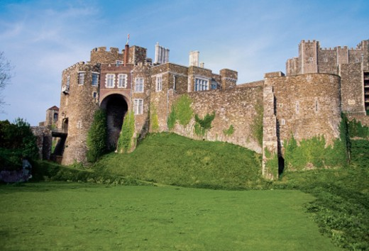 Moss on the wall of Dover Castle, Dover, Kent, England : Stock Photo