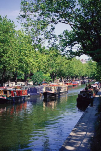 Boats moored at a canal, Little Venice, London, England : Stock Photo