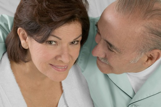 Stock Photo: 1598R-267626 High angle view of loving senior couple