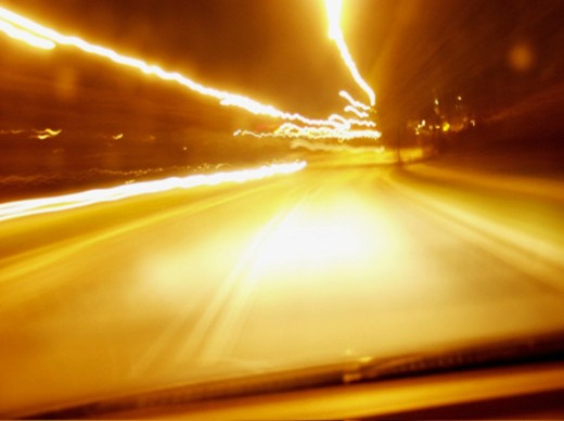 Stock Photo: 1598R-267928 Streaks of light on a street