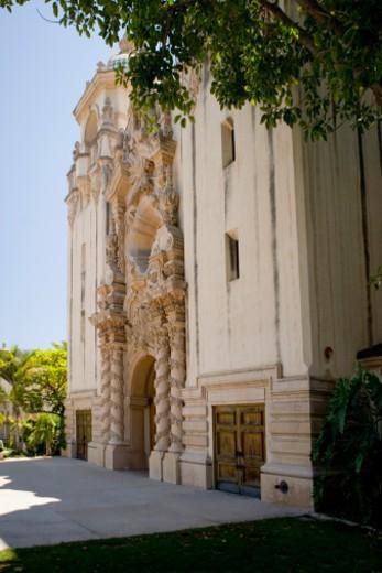 Side profile of an ornate building, Balboa Park, San Diego, California, USA : Stock Photo