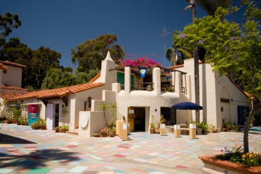 Stock Photo: 1598R-268091 Tiled courtyard in a complex, Spanish Village Art Center, Balboa Park, San Diego, California, USA