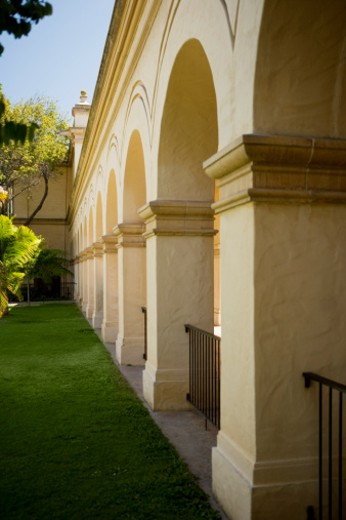 Stock Photo: 1598R-268104 Arches in a building, Balboa Park, San Diego, California, USA