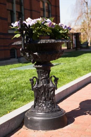 Stock Photo: 1598R-268550 Iron pot with flowers, Smithsonian Institute Castle, Washington DC, USA