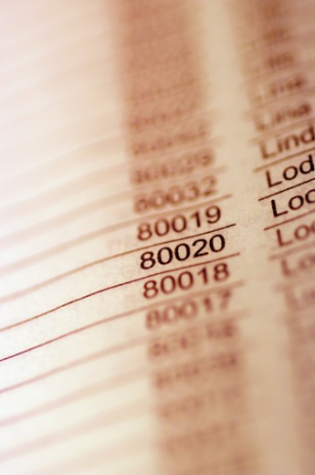 Stock Photo: 1598R-268728 Close-up of numbers and text printed on paper