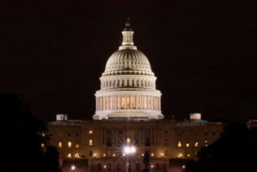 Building lit up at night, Capitol Building, Washington DC, USA : Stock Photo