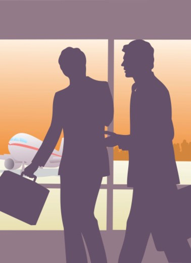 Stock Photo: 1598R-269375 Silhouette of two people at an airport