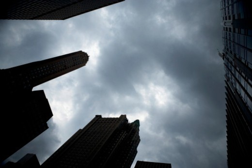 Skyscrapers under a cloudy sky, New York City, NY, USA : Stock Photo