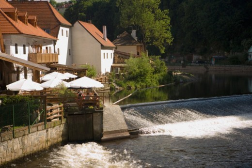Stock Photo: 1598R-270532 High angle view of a dam, Prague, Czech Republic