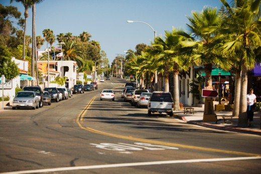 Palm trees lining a city street, Old Town San Diego, California, USA : Stock Photo
