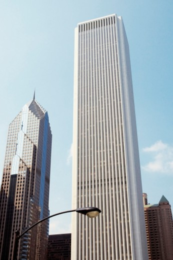 Stock Photo: 1598R-271811 Low angle view of buildings in a city, Two Prudential Plaza and the Aon Center, Chicago, Illinois, USA