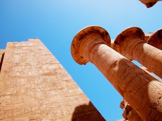 Stock Photo: 1598R-272121 Low angle view of carved wall and columns, Temples Of Karnak, Luxor, Egypt
